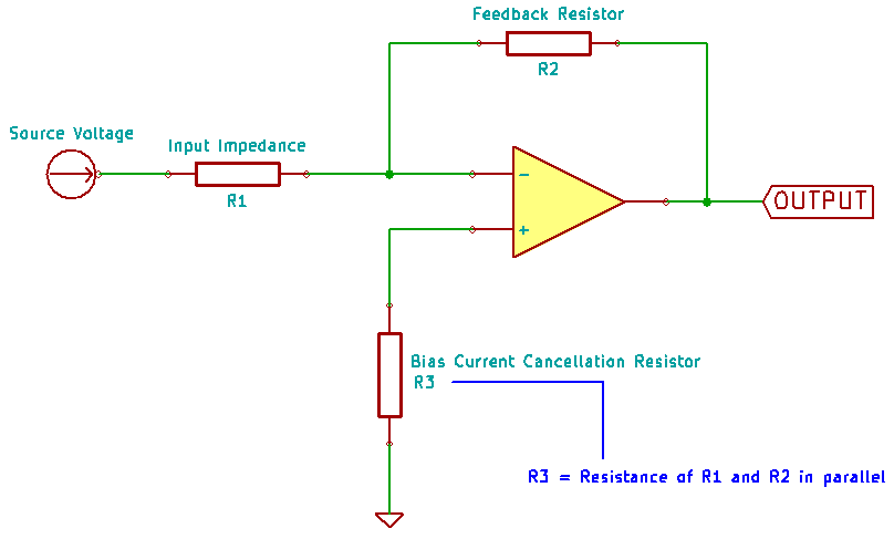 Bias Current Cancellation Resistor